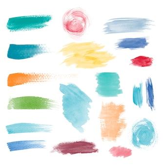 Kleurrijke penseelstreek ontwerp vector set