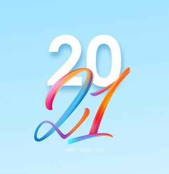 Kleurrijke penseelstreek verf belettering kalligrafie, gelukkig nieuwjaar achtergrond.
