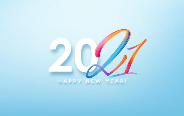Kleurrijke penseelstreek verf belettering kalligrafie van 2021 gelukkig nieuwjaar achtergrond.