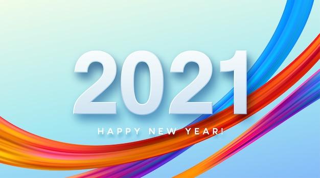 Kleurrijke penseelstreek verf belettering kalligrafie van gelukkig nieuwjaar achtergrond.