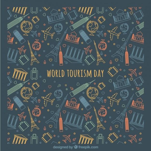 Kleurrijke pictogrammen op donkere achtergrond voor de werelddag van het toerisme