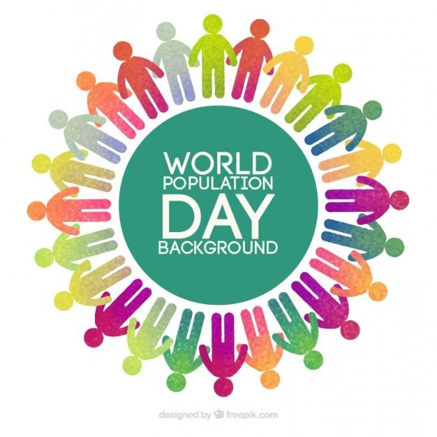 Kleurrijke pictogrammen over de hele wereld achtergrond van de dag bevolking