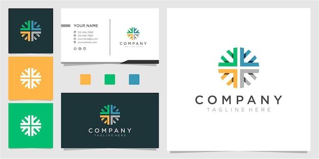 Kleurrijke pijl in cirkel logo ontwerpsjabloon met visitekaartje