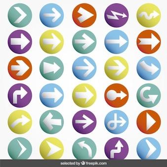 Kleurrijke pijl knoppen collectie