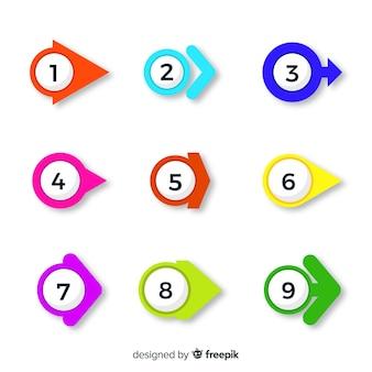 Kleurrijke pijl opsommingsteken verzameling