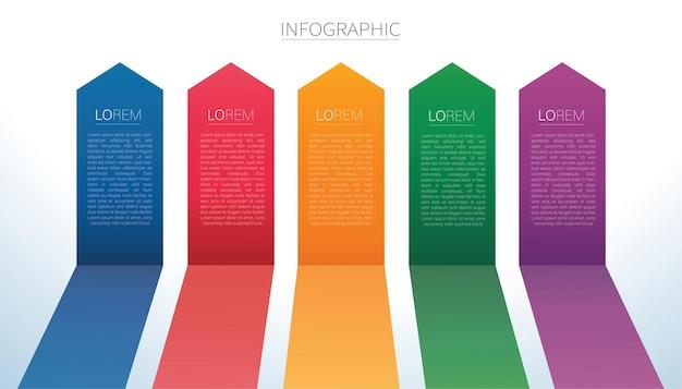 Kleurrijke pijllijnen infographic 5 opties achtergrond