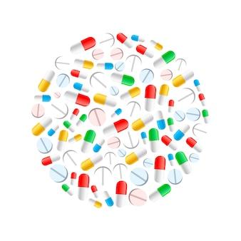 Kleurrijke pillen in cirkelvorm die op wit wordt geïsoleerd