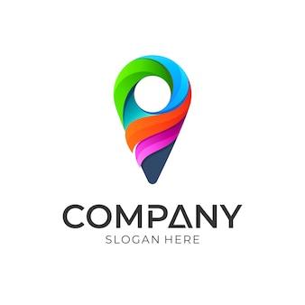 Kleurrijke pin punt logo sjabloon