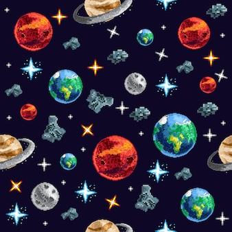 Kleurrijke pixelplaneten op naadloze achtergrond