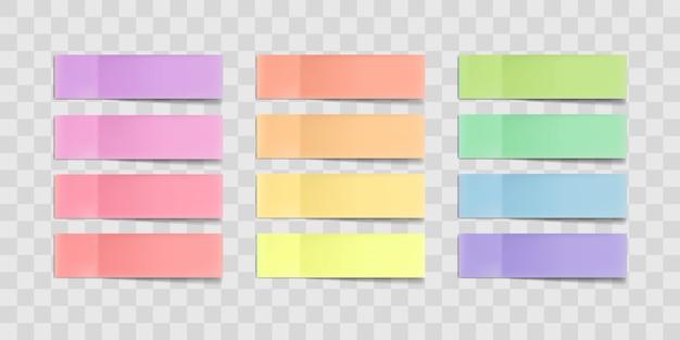 Kleurrijke plaknotities, post stickers met schaduwen geïsoleerd op een transparante achtergrond