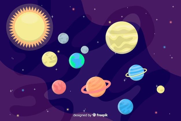 Kleurrijke planeten in het zonnestelselpakket