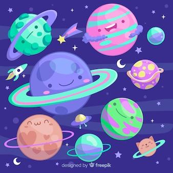 Kleurrijke planeten uit de collectie van het zonnestelsel