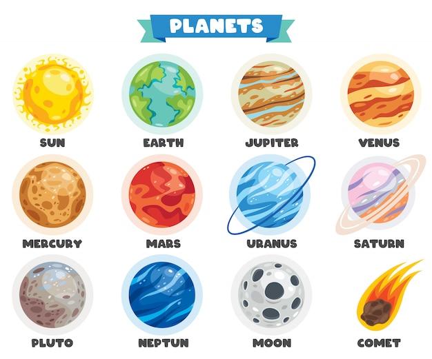 Kleurrijke planeten van het zonnestelsel