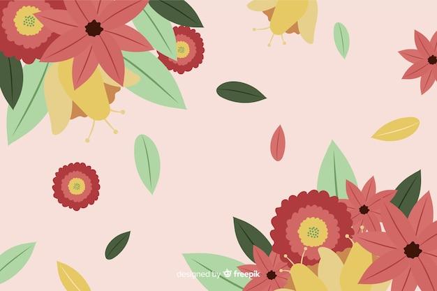 Kleurrijke platte achtergrond met bloemen