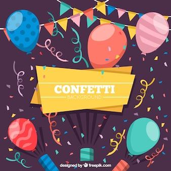 Kleurrijke platte achtergrond met confetti