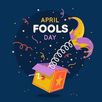 Kleurrijke platte april dwazen dag illustratie