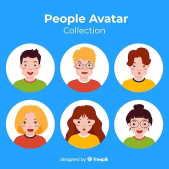 Kleurrijke platte avatar collectie