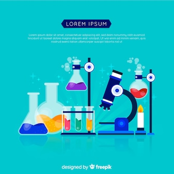 Kleurrijke platte chemie achtergrond