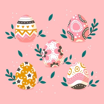 Kleurrijke platte decoratieve paaseieren collectie