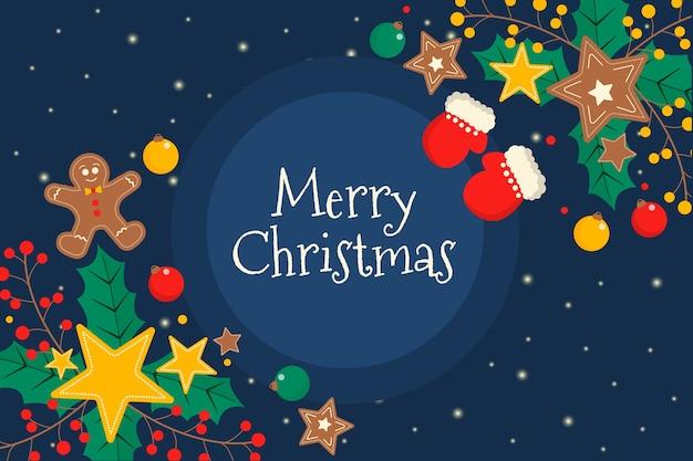Kleurrijke platte kerst achtergrond