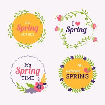 Kleurrijke platte lente label collectie