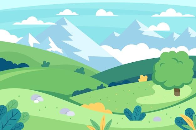 Kleurrijke platte lente landschap