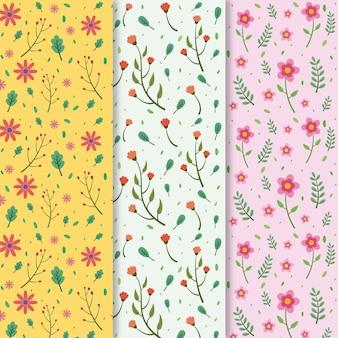 Kleurrijke platte lente patroon collectie