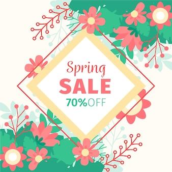 Kleurrijke platte lente verkoop met korting