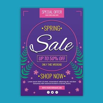 Kleurrijke platte lente verkoop sjabloon folder