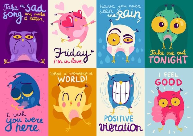 Kleurrijke platte ontwerpkaarten met schattige uilen met verschillende emoties