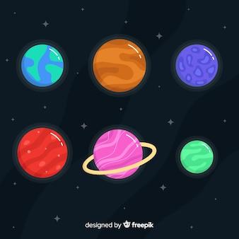 Kleurrijke platte planetencollectie