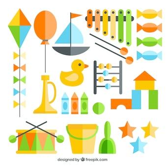 Kleurrijke platte speelgoed