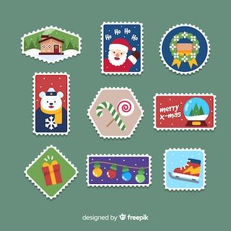 Kleurrijke platte stempel kerstcollectie