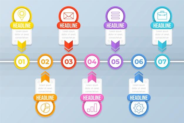 Kleurrijke platte tijdlijn infographic