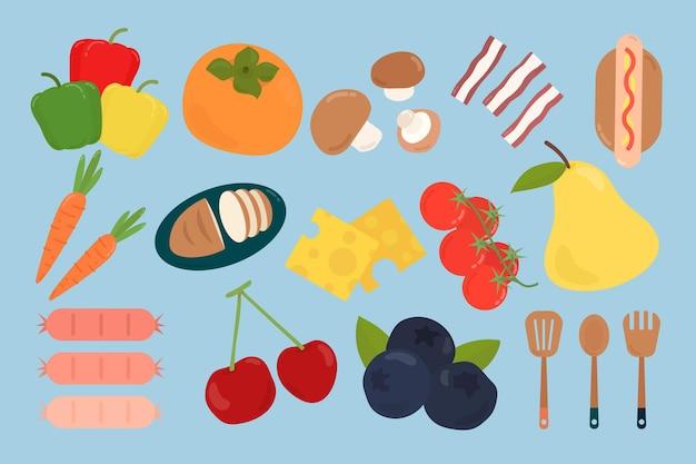 Kleurrijke platte voedselset
