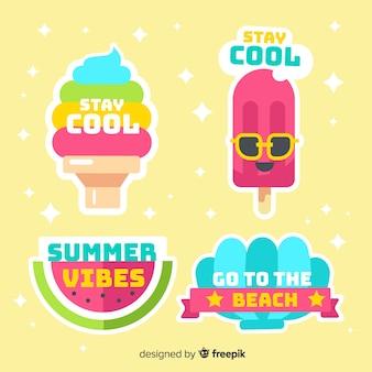 Kleurrijke platte zomer sticker collectie