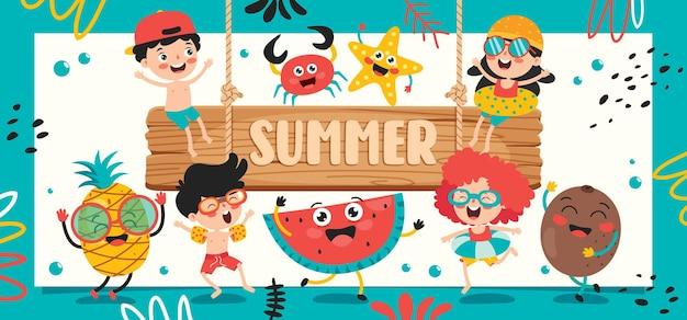 Kleurrijke platte zomerbanner