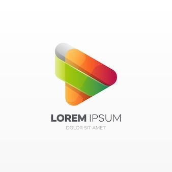Kleurrijke play knop logo sjabloon
