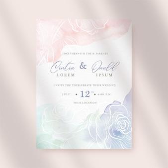 Kleurrijke plons en bloemachtergrond op huwelijksuitnodiging