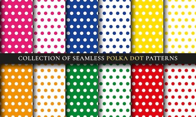 Kleurrijke polka dot naadloze patroon set. abstracte achtergrond collectie