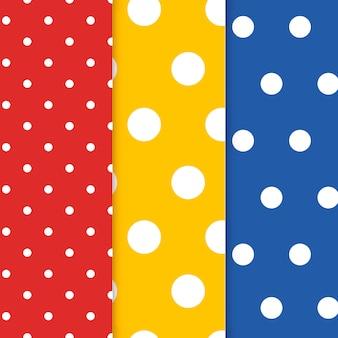 Kleurrijke polka dot naadloze patroon vector set