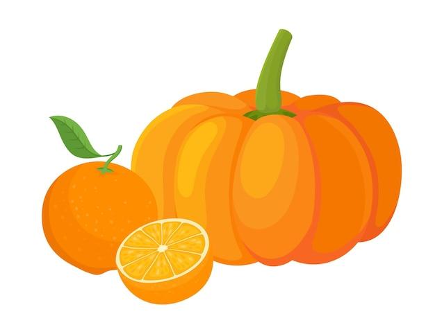Kleurrijke pompoen en sinaasappelen. cartoon biologische verse groente, fruit geïsoleerd