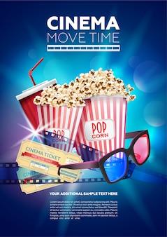 Kleurrijke poster sjabloon voor bioscoop tijd