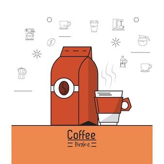 Kleurrijke poster van coffeeshop met zak gemalen koffie en cup