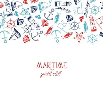 Kleurrijke poster van de maritieme jachtclub met verschillende symbolen, waaronder vis, schip, zee en naadloos patroon op het witte papier