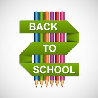Kleurrijke potloden met tekst terug naar school op papier lint.