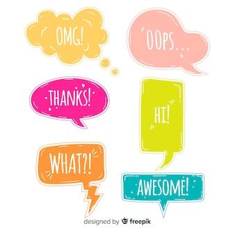 Kleurrijke praatjebellen met verschillende uitdrukkingen