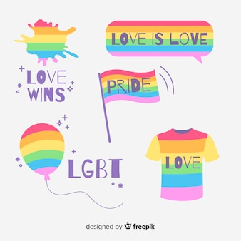 Kleurrijke pride-dag labels-collectie