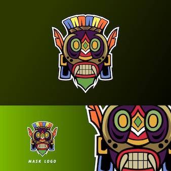 Kleurrijke primitieve masker mascotte sport esport logo sjabloon