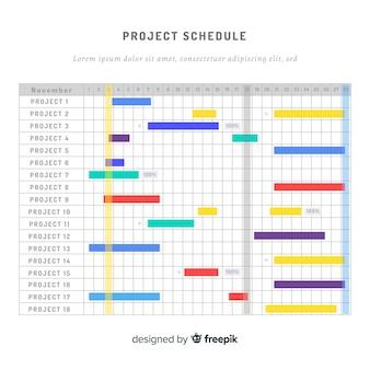 Kleurrijke project schema sjabloon met platte ontwerp